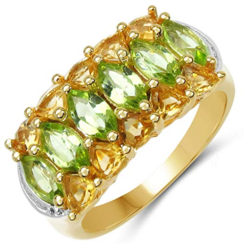 Bonyak Jewelry Genuine Marquise Peridot and Citrine Ring in Sterling Silver - Size 7.00