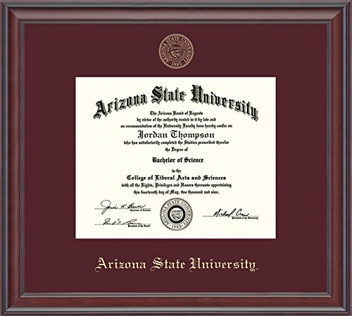 """Church Hill Classics Arizona State University Gold Embossed Diploma Frame – Solid Hardwood """"Studio"""" Moulding, Officially Licensed – 8.5"""