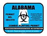 Alabama state zombie hunting permit license vinyl sticker decal
