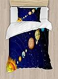 MAIANNE Space Duvet Cover, Solar System Sun Uranus Venus Jupiter Mars Pluto Saturn Neptune Image, Decorative 4 Piece Bedding Set 2 Pillowcases, Dark Blue Orange