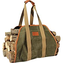 "Waxed Canvas Log Carrier Tote Bag,40""X19"" Firewood Holder,Fireplace Wood Stove Accessories"