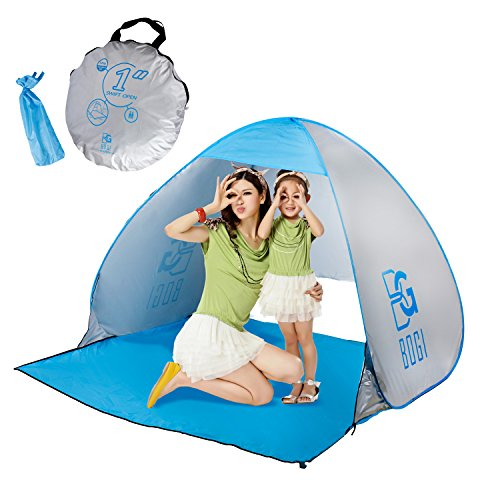 BOGI Beach Tent Outdoor Automatic Pop Up Instant Cabana and Sun Shelter for 2-3 Person Family, Lightweight Portable…