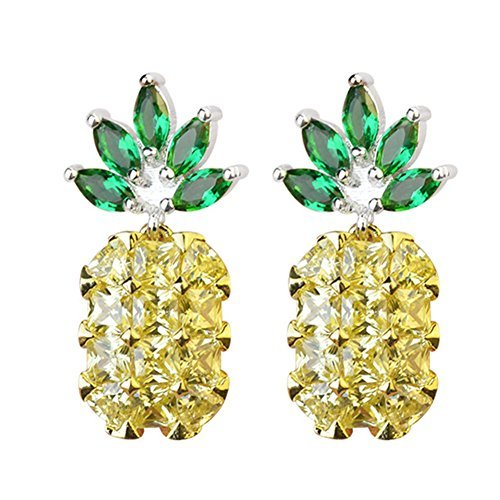 Two Tone 18k Earrings (S925 Sterling Silver 18K Gold Plated CZ Two-tone Green Leaf Crystal and Pineapple Women Dangle Drop Earrings)