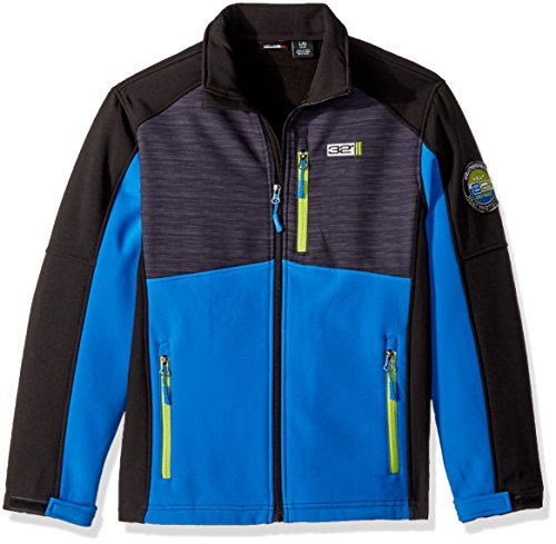 Price comparison product image 32 DEGREES Weatherproof Big Boys' Outerwear Jacket (More Style Available), Softshell-WF53-Blue/Charcoal Heather/Lime, 14/16
