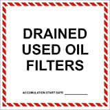 Drained Used Oil Filters Label - 6'' x 6'' (Pack of 25)