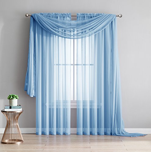 Light Baby Blue 4 Piece (Amazing Sheer - 2-Piece Rod Pocket Sheer Panel Curtains Fabric Sheer - Voile Curtains for Window Treatment - Natural Light Flow (56
