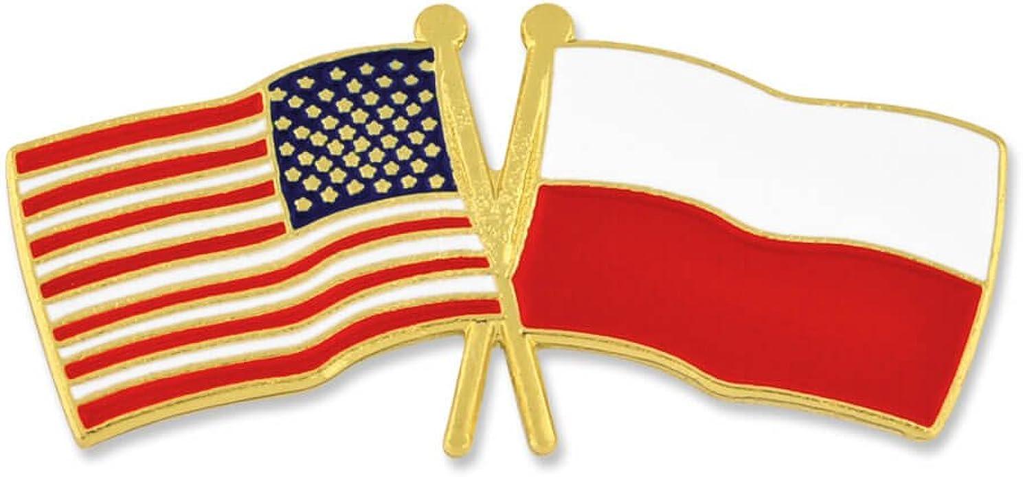 Polish American flag Visa Waiver lapel pin