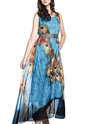 Wantdo Women's Peacock Printed Bohemian Summer Maxi Dress, US 8