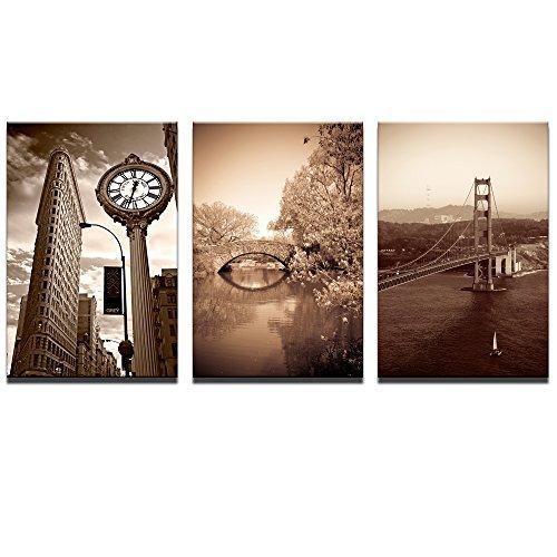 Live Art Decor - Vintage New York Wall Art,Golden Gate Bridge,Flatiron Building and Central Park Landscape Canvas Painting,3 Panels Retro Picture Photo Canvas Prints for Home Wall Decor,Framed ()