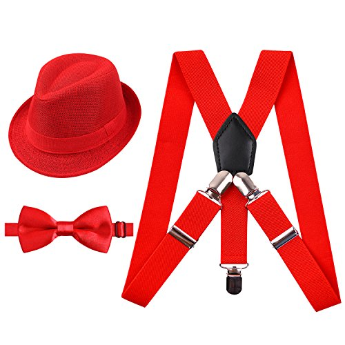 2.5cm Elastic Braces 3 Clip Suspender and Bow Tie Set with Hat for Kids, Red]()
