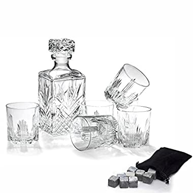 Klikel Selecta 7 Piece Whiskey Gift Set Includes Decanter, 6 Double Old Fashioned Rocks Glasses & 12 Granite Chiller Cooling Stones