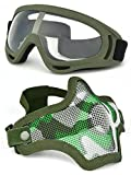 Tools & Hardware : OUTGEEK Airsoft Half Face Mask Steel Mesh and Goggles Set (ary green set)
