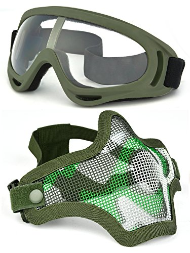 OUTGEEK Airsoft Half Face Mask Steel Mesh and Goggles Set (ary green set)