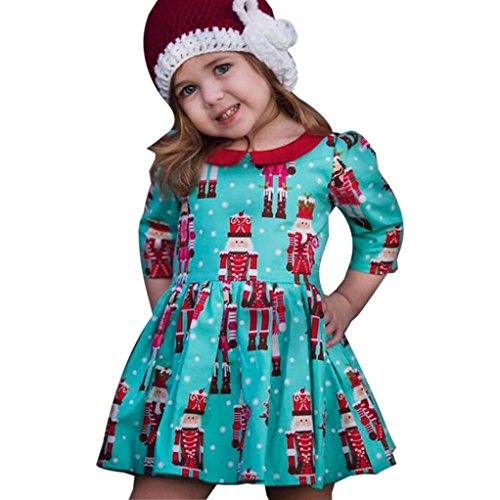 FEITONG Toddler Little Girls Cartoon Princess Party Dress Christmas Dress Outfits (5Years, Blue) - Kids Christmas Outfits