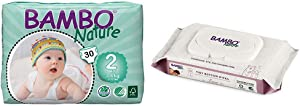 Bambo Nature Baby Diapers Classic, Size 2 (7-13 lbs), 30 Count with Bambo Nature Tidy Bottoms Baby Wipes 50 Sheets