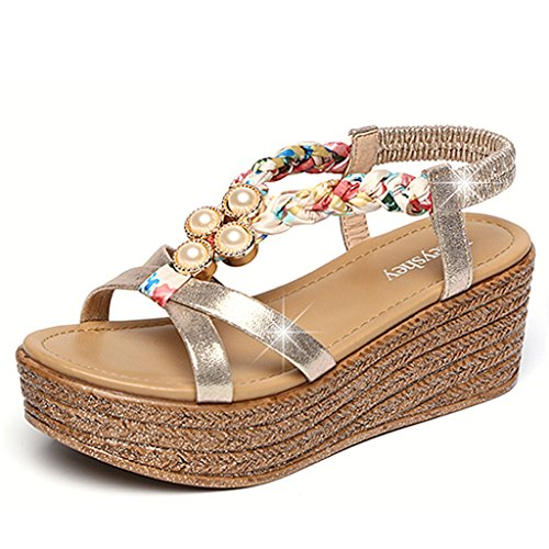Color 36 Gold Womens High Summer Toed Size Sandals Shoes Heel Sandals Silver Platform Beach Open Comfortable Wedge Sexy OqxwdaXSTT