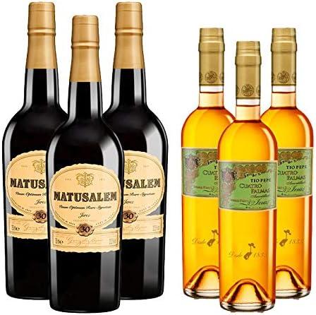Vinos Fino Cuatro Palmas y Oloroso Dulce Matusalem - D.O. Jerez - Mezclanza Gonzalez Byass (Pack de 6 botellas)