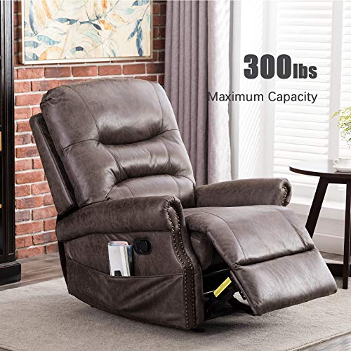 ANJ Rocker Recliner Chair with Breathable Bonded Leather, Classic and Retro Design 1 Seat Sofa Manual Recliner Chair with Overstuffed Arms and Back, Smoke Gray