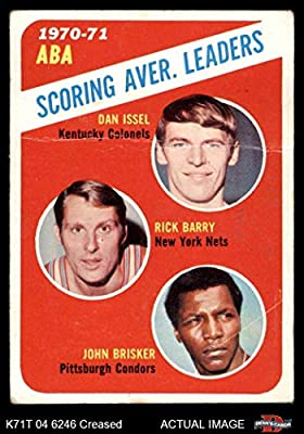 1971 Topps # 147 ABA Scoring Average Leaders John Brisker/Dan Issel/Rick Barry Kentucky/New York/Pittsburgh Colonels/Nets / Condors (Basketball Card) Dean's Cards 2 - GOOD Colonels/Nets / Condors