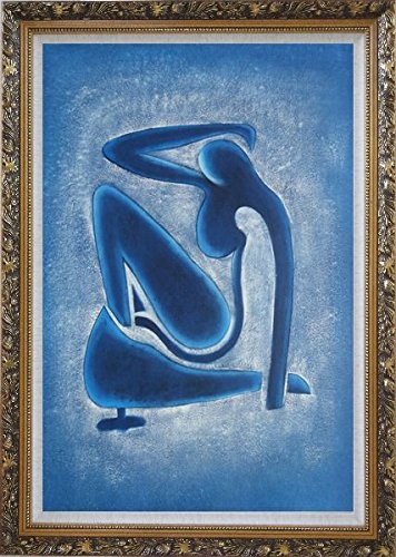 "BeyondDream Framed Oil Painting 36""x24"" Blue Nude by Henri Matisse Portrait Woman Modern Fauvism Ornate Frame"