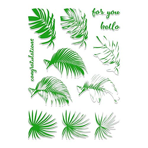 MeikoTan 1 Set Palm Leaves Metal Cutting Dies and Clear Stamps Letter for Card Making Decor Album Embossing Crafts Die Cuts Stamps New 2019