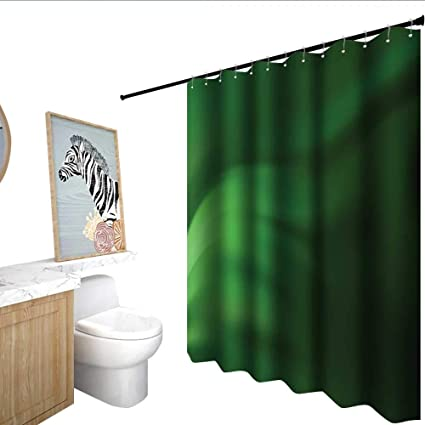 Homecoco Forest Green Shower Curtain With Hooks Abstract Pattern Color Wave In Shades And