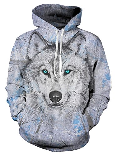 Idgreatim Men 3D Wolf Printed Hoodies Personalized Fleece Hooded Sweater Sweatshirt Medium ()