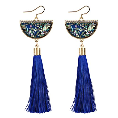 Earrings Style Latest New Fashion (Beuu Fan Shaped Tasseled Ladies Earrings Vintage Women Bohemian Long Tassel Fringe Dangle Jewelry (Blue))