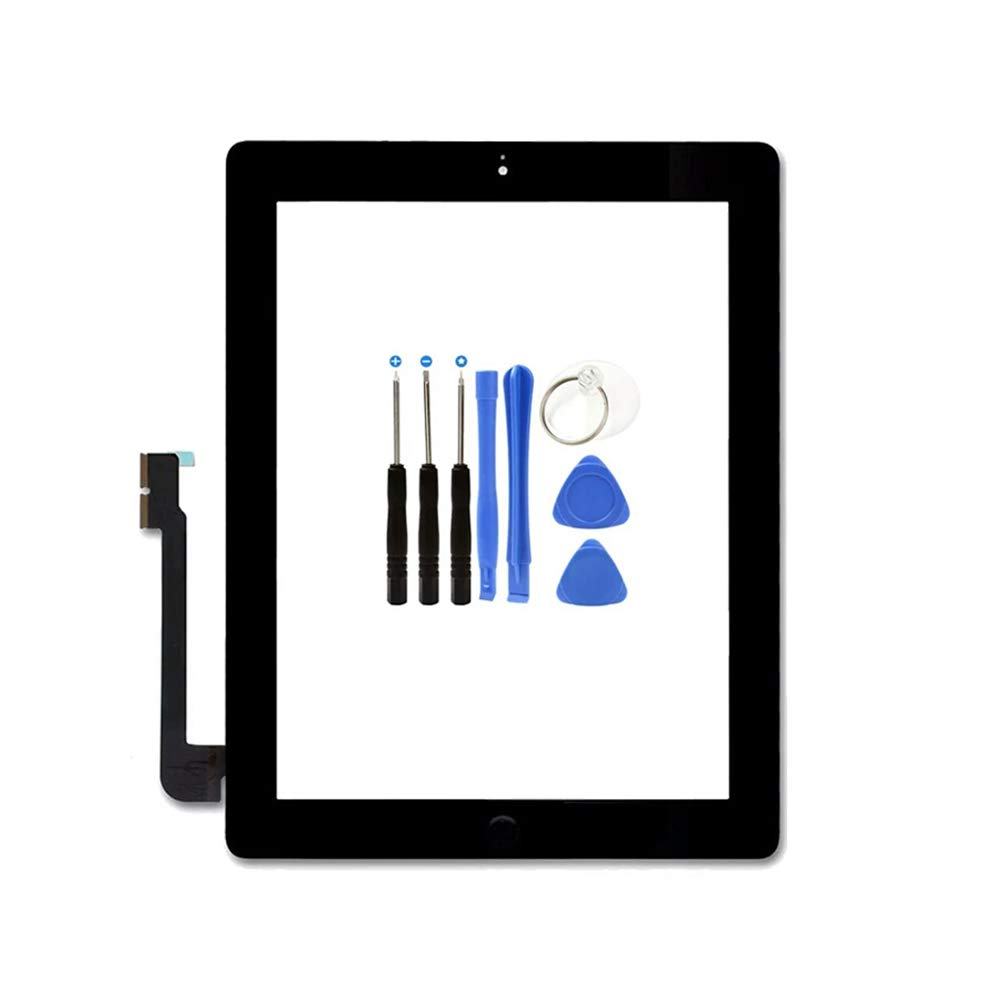 KAKUSIGA Compatible for ipad 4th Generation Touch Screen Glass Digitizer Replacement Black Repair Tools kit Home Button Flex Adhesive Tape
