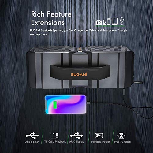 BUGANI Bluetooth Speaker, M83Portable Bluetooth Speakers,Bluetooth 5.0,Waterproof, Wireless Speakers,40W Super Power… 6