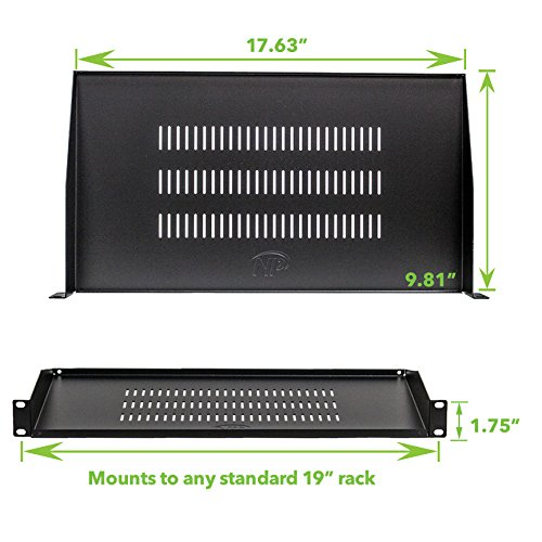 NavePoint Cantilever Server Shelf Vented Shelves Rack Mount 19'' 1U Black 10'' (250mm) deep by NavePoint
