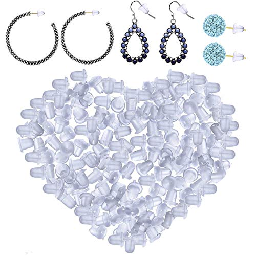 1000 Pieces Clear Earring Backs | Soft Ear Safety Back Pads | Silicone Bullet Clutch Replacement Earring Stoppers for Fish Hook Earring Studs Hoops