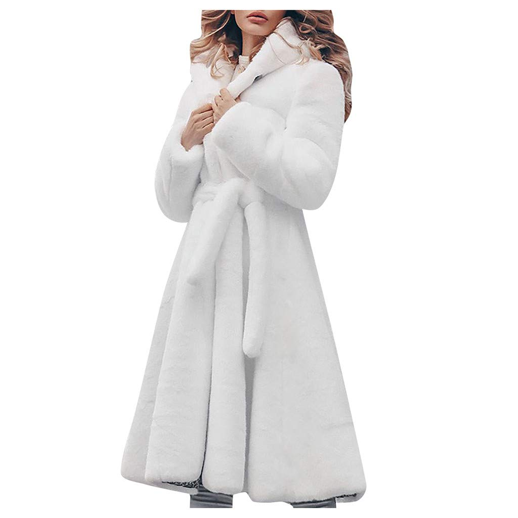 Fashionhe Long Faux Coat Plus Coat Long Faux Jacket Overwear Women Plus Size Warm Furry Long Sleeve Outerwear(White.L) by Fashionhe
