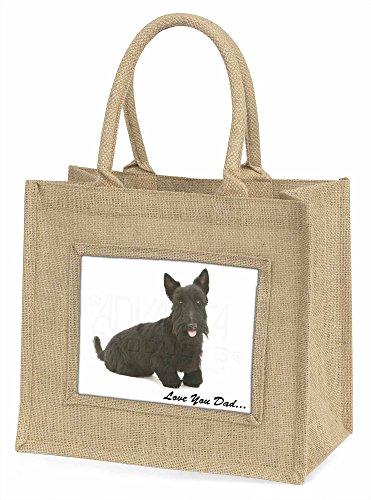 Advanta Scottie Hund, Love You Dad Große Einkaufstasche Weihnachten Geschenk Idee, Jute, beige/natur, 42x 34,5x 2cm