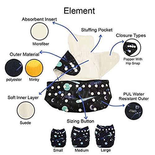 ALVABABY lot de 6 couches lavables de poche ajustables avec 2 inserts chaque 6DM53-EU