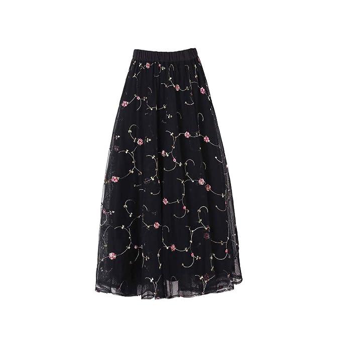 1b67309e5e325 JW LEE High Waist Flared Skirt Pleated Midi Skirt (Black) at Amazon ...
