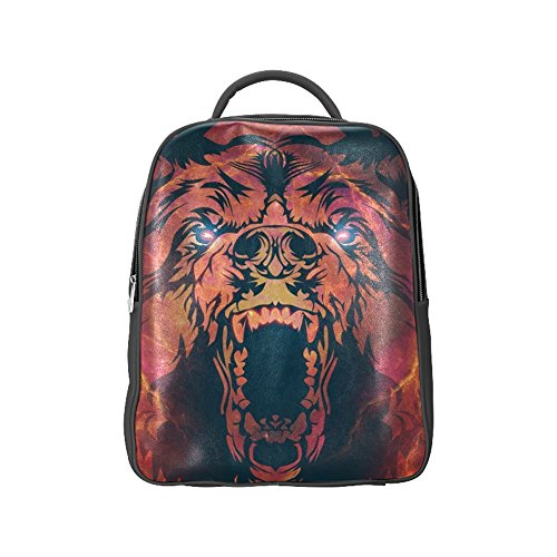 COLORSFORU(TM) Roaring Angry Bear PU Backpack Animal Satchel School Book Bag (Roaring Twenties Mens Fashion)