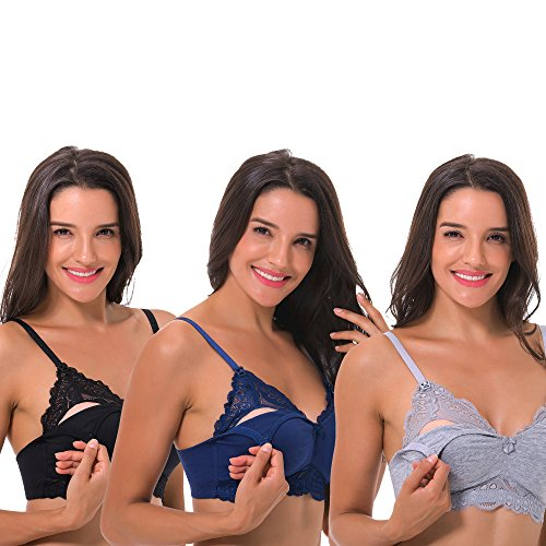 Lace Womens Nursing Bra - Curve Muse Plus Size Nursing Cotton Unlined Wirefree Bra with Lace Trim-2 Or 3PK-Grey,Black,Navy-44D