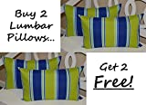 Set of 2 - Indoor / Outdoor Decorative Lumbar / Rectangle Pillows + 2 Free - Green, Blue, Turquoise, Yellow, White Stripe