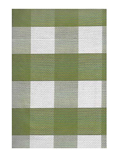 Newbridge Winter Buffalo Plaid and Lodge Print Vinyl Flannel Backed Tablecloth, Rustic Cottage Check Tablecloth, 52 Inch x 52 Inch Square, Green ()