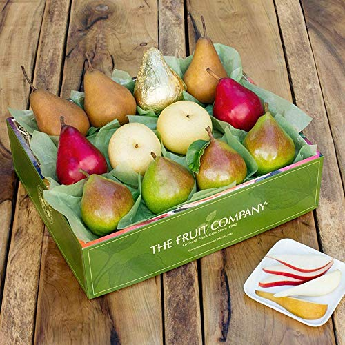 The Fruit Company Pear Medley Gift Box- 7 lbs An Assortment of 12 Pieces (3 varieties) Premium Fresh Pacific Northwest Pears Hand-Packed in a Reusable Watercolor Box Designed by Local Oregon Artist