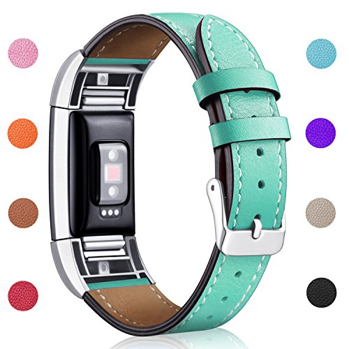 Hotodeal Band Compatible Charge 2 Replacement Bands, Classic Genuine Leather Wristband Metal Connectors, Fitness Strap Women Men Small Large Teal