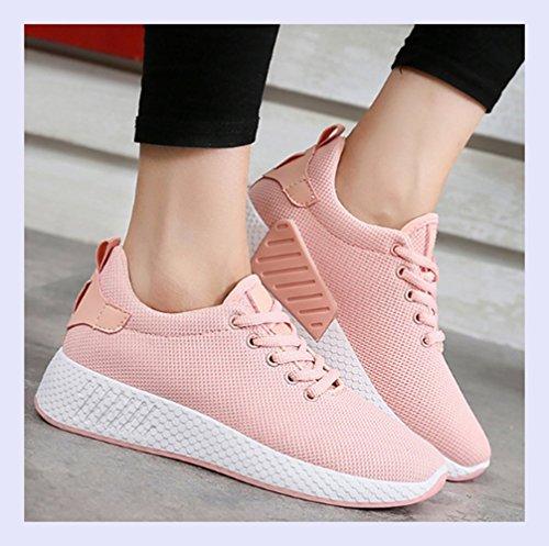 XINGMU Air Mesh Transpirable Zapatos con Cordones Zapatos De Mujer Sólido Tejido De Algodón Mujeres Sneakers Cuñas De Coser Zapatos para Mujeres Negro
