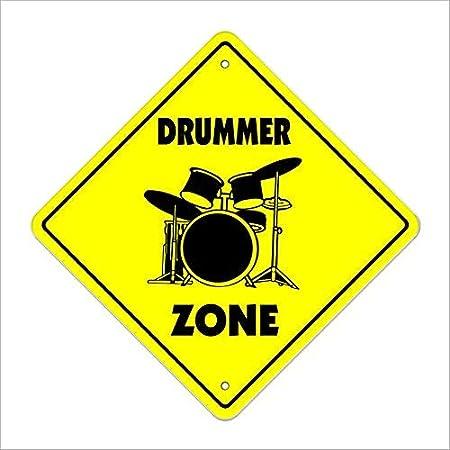 Monsety Drummer-M Señal de Cruce de la Zona Xing Tambor Sticks Músico Banda Rock Play música Humor Metal Sign No Rust UV Protected & Waterproof Tin Sign