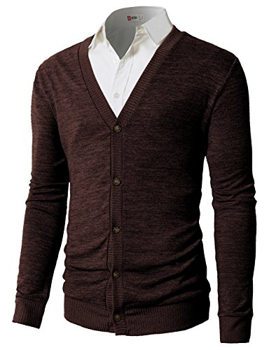 H2H Men's Color Block Cotton Cardigan V-Neck Button Down Fine Knit Sweater Darkbrown US XL/Asia 2XL (Fine Cotton Long Sleeve Cardigan Sweater)