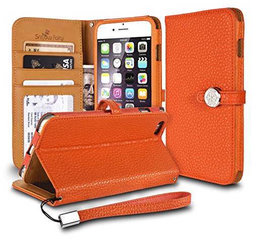 iPhone 6s (4.7) Cases, iPhone 6 (4.7) [Snow Fairy] Flip Cover Case [Premium Genuine Leather Kick Stand Wristlet][Card Holder][Wallet] - [Leather Fit][Wrist Strap] Bull Leather Case Orange