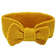DaySeventh Baby Knitting Infant Kids Girl Bowknot Headbands Head Wrap Knotted Hair Band (Yellow)