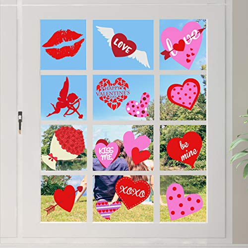 Tifeson 32 PCS Valentine's Day Window Clings Static Stickers Decal - Removable Valentines Window Decals - Valentines Decorations Party Supplies