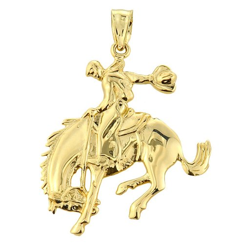 - Bold 14k Yellow Gold Western Charm Rodeo Horse Cowboy Pendant