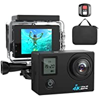 4K WIFI Action Camera Ultra HD Waterproof Sport Camera 16MP 173 Degree Wide Angle, Free Travel Bag (black) (black)